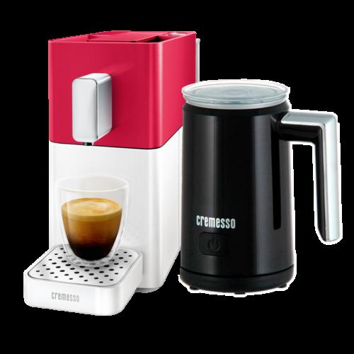 Cremesso Easy Piros/Fehér  Kapszulás kávégép + Tejhabosító